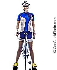 frau, triathlon, ironman, athlet, radfahrer, radfahren