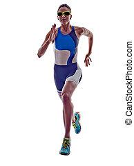 frau, triathlon, ironman, läufer, rennender , athlet