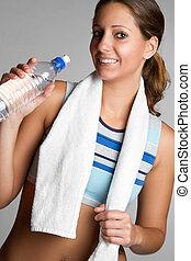 frau, trinkwasser