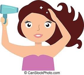 frau, trocknen, haar, mit, blowdryer., frisch, und, sauber, hair.
