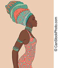 frau, turban, traditionelle , amerikanische , hübsch,...