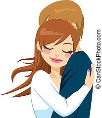 frau, umarmen, mit, zärtlich, liebe