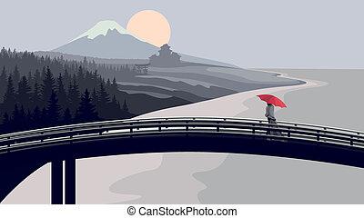 frau, umbrella., brücke, rotes