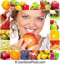 frau, und, früchte