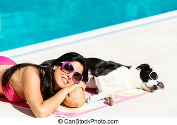 frau, und, hund, entspannend, auf, sommer