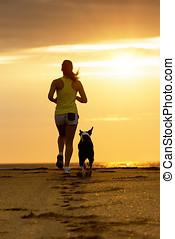 frau, und, hund, rennender , auf, sonnenuntergang