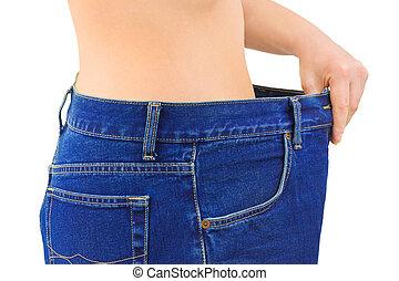 frau, und, jeans, -, abnehmen
