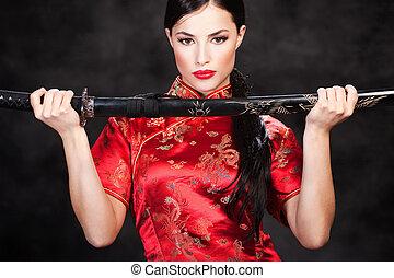 frau, und, katana/sword