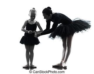 frau, und, kleines mädchen, ballerina, ballettänzer, tanzen, silhouett