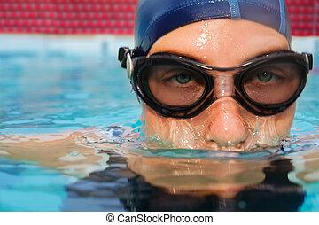 frau, untertauchen, teich, schwimmer