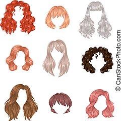 frau, vektor, hairstyle.
