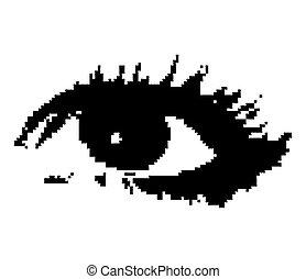 frau, vektor, pixelated, eye.