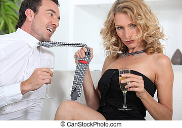 frau, verführen, champagner, mann