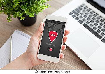 frau, vernetzung, app, schöpfung, telefon, schutz, besitz, ...