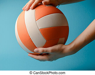 frau, volleyball, hände