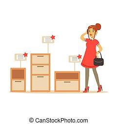 Möbel Shoppen laden dekor frau einkaufen käufer haus elemente eps