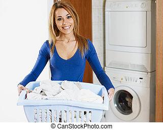 frau, wäscherei
