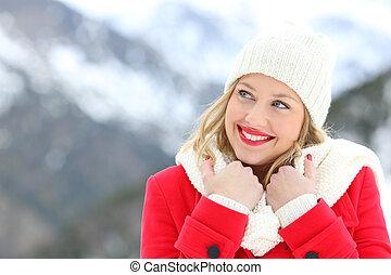 frau, warm, gekleidet, anschauen, seite, in, winter