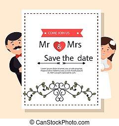 frau, wedding, karte, herr, graphischer entwurf, weinlese