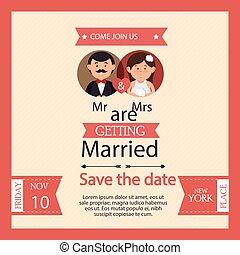 frau, wedding, karte, stil, herr, graphischer entwurf, weinlese