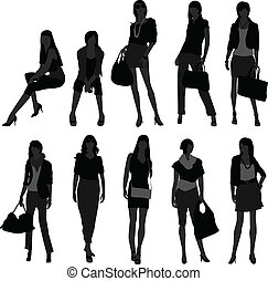 frau, weibliche , m�dchen, shoppen, modell