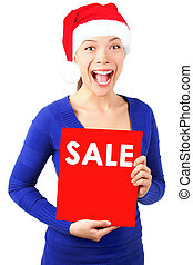 frau, weihnachten, zeichen, verkauf