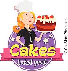 frau, weinlese, kappe, koch, hintergrund, kuchen, lächeln, logo., weißes