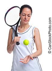 frau, werfen, tennis, auf, spieler, kugel