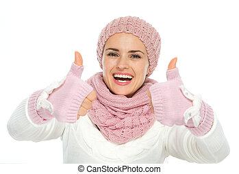 frau, winter, stricken, ausstellung, auf, daumen, kleidung, ...