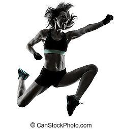 frau, workout, boxen, freigestellt, aerobik, fitness, cardio, übung