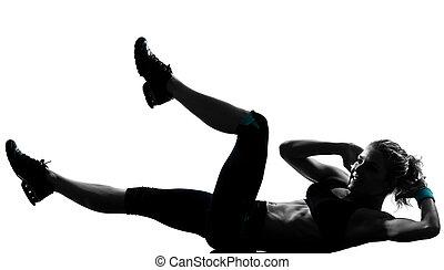 frau, workout, fitness, haltung, abdominals, schieben, ups