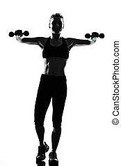 frau, workout, fitness, haltung, gewichtstraining
