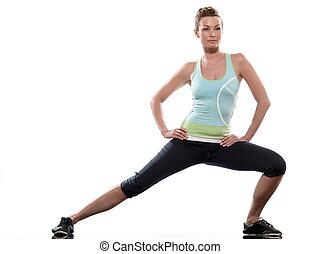frau, workout, haltung