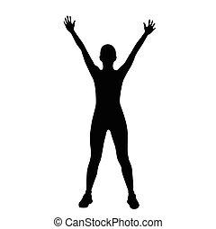 frau, workout, silhouetten, fitness, sport, übung