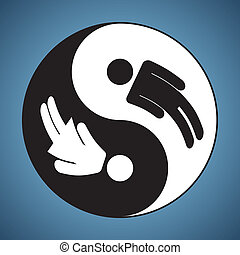frau, &, yin, -, yang, mann