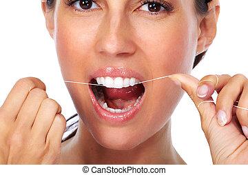 frau, z�hne, mit, dental, floss.