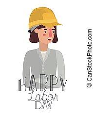 frau, zeichen, arbeit, feiern, baugewerbe, avatar, tag