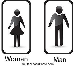 frau, zeichen, symbol, toilette, mann, &