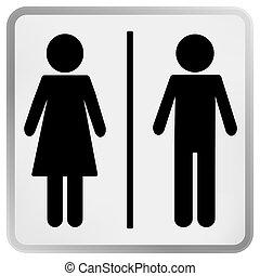 frau, zeichen, toilette, mann, &