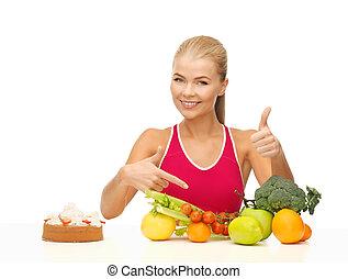 frau- zeigen, an, gesundes essen
