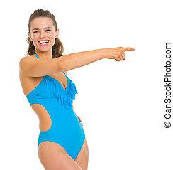 frau- zeigen, raum, junger, badeanzug, kopie, glücklich