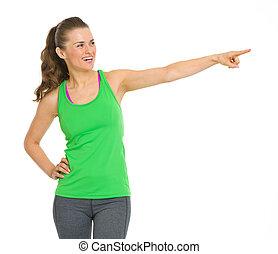 frau- zeigen, raum, junger, fitness, kopie, glücklich