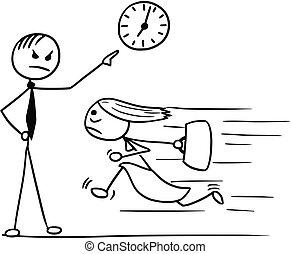 frau- zeigen, uhr, wand, arbeit, vorgesetzter, spät, rennender , seine, karikatur