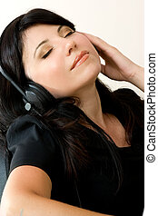 frau, zuhören, musik