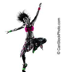 frau, zumba, fitness, übungen, tänzer, tanzen, freigestellt, silhouette