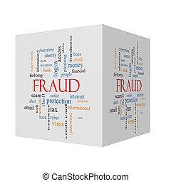 Fraud 3D cube Word Cloud Concept