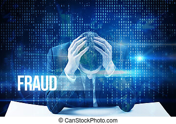Fraud against blue technology interface with binary code -...