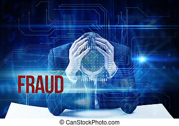 Fraud against blue technology interface with circuit board -...