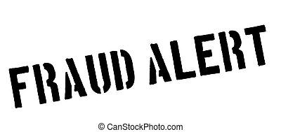 Fraud Alert black rubber stamp on white