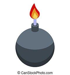 Fraud bomb icon, isometric style